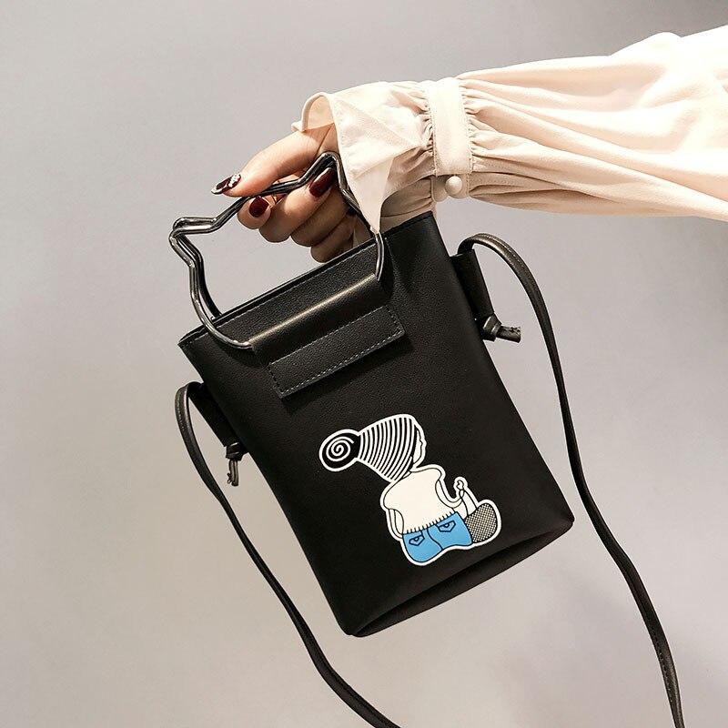 2018 New Cartoon Print Women Messenger Bags PU Leather Female Shoulder Bags Purse and Handbags Girls Children Mini Crossbody Ba