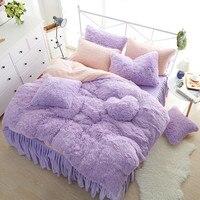 Супер Теплый пододеяльник комплекты теплые мягкие queen King Размеры кровать юбка наволочки корейский стиль принцессы для девочек Постельное б