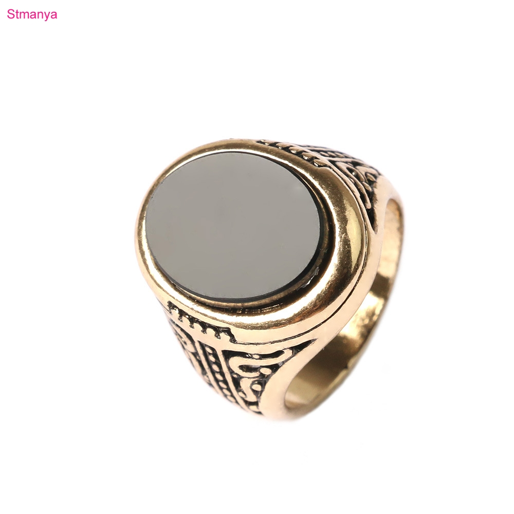 ٩(^‿^)۶Hombres Anillos Vintage Look negro piedra Anillos de oro para ...