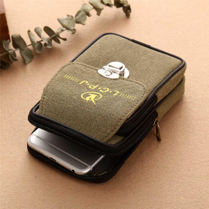 Aelicy ヴィンテージウエストパック男性キャンバス携帯電話ベルトバッグ携帯電話バッグトラベルベルト財布防水コイン財布 Handbag0