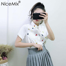 NiceMix 2019 Summer White Blouses Women Kawaii Harajuku Cartoon Embroidery Blusas Ladies Slim Short Sleeve Shirt Femme