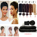 Human Hair Short Bump Weave Brazilian Virgin Hair Extensions 4inches 28 Pieces Short Hair Weave With Free Closure Shower Cap Hot