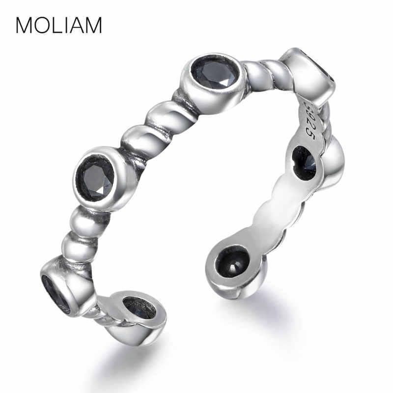 MOLIAM אמיתי 925 סטרלינג כסף פתוח טבעת עבור נשים שחור/לבן עגול גיאומטרי וגרם זירקון אצבע טבעות תכשיטי MLRT0074