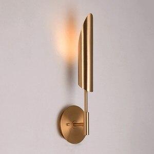 Image 1 - Минималистичные бронзовые светодиодные Настенные светильники для фойе, современное бра для спальни, прикроватного столика, коридора, скандинавский светильник в стиле лофт