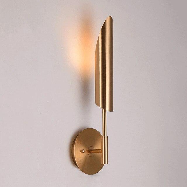 Минималистичные бронзовые светодиодные Настенные светильники для фойе, современное бра для спальни, прикроватного столика, коридора, скандинавский светильник в стиле лофт