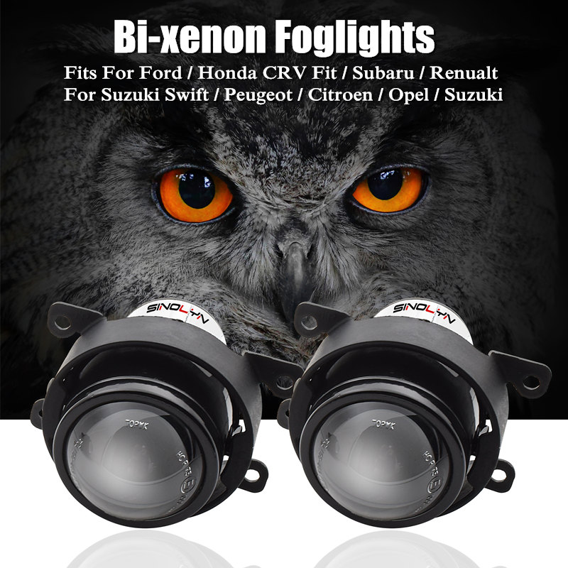 For Ford/ Honda CRV Fit/ Subaru/ Renualt/Suzuki Swift Car HID Bi-xenon Fog Lights Projector Lens Driving Lamps Retrofit DIY H11