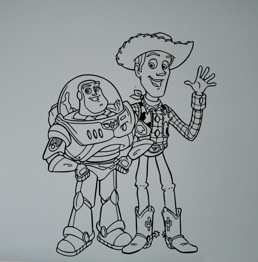 Buzz and Sheriff Woody Wall Vinyl Decal Cartoon Toy Story