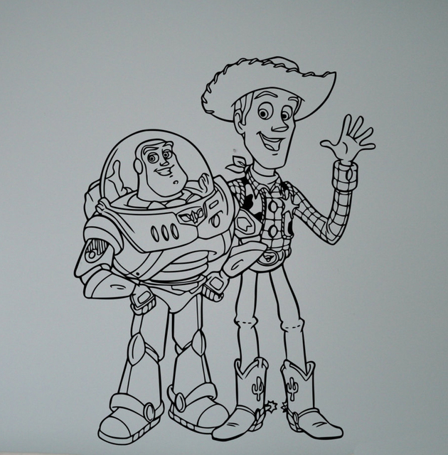 Buzz and Sheriff Woody Wall Vinyl Decal Cartoon Toy Story Sticker