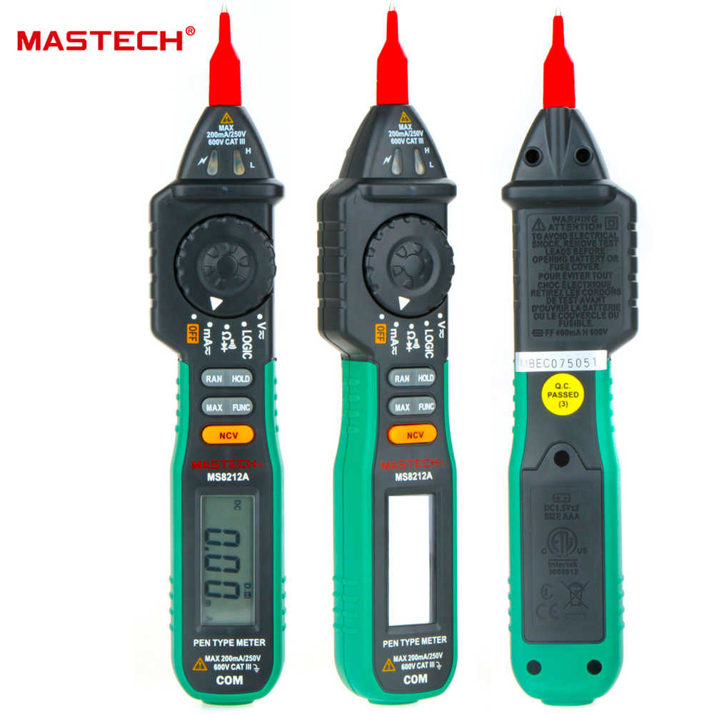 Mastech MS8212A stylo multimètre numérique multimétro cc testeur de courant alternatif Diode continuité logique tension sans contact