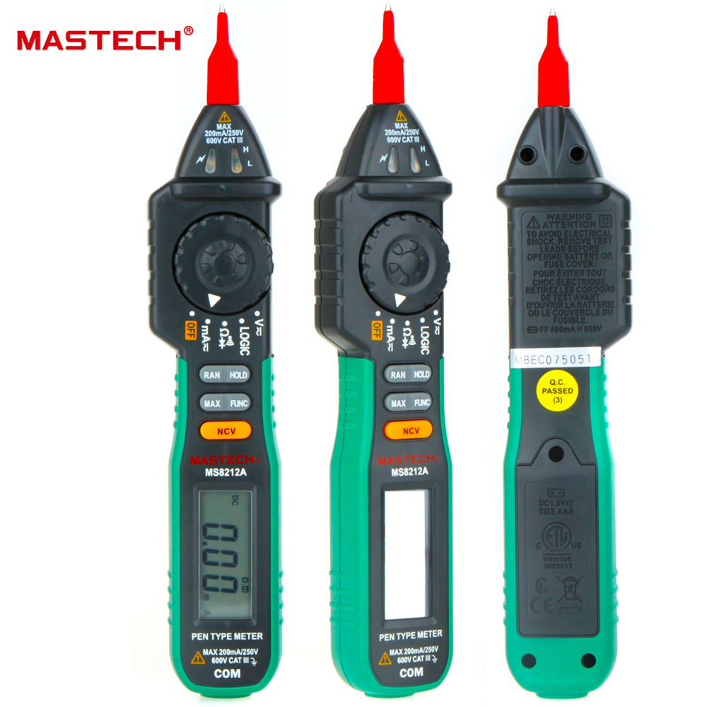 Mastech MS8212A Pen Type Digital Multimeter Multimetro <font><b>DC</b></font> AC Voltage Current Tester Diode Continuity Logic Non-contact Voltage image