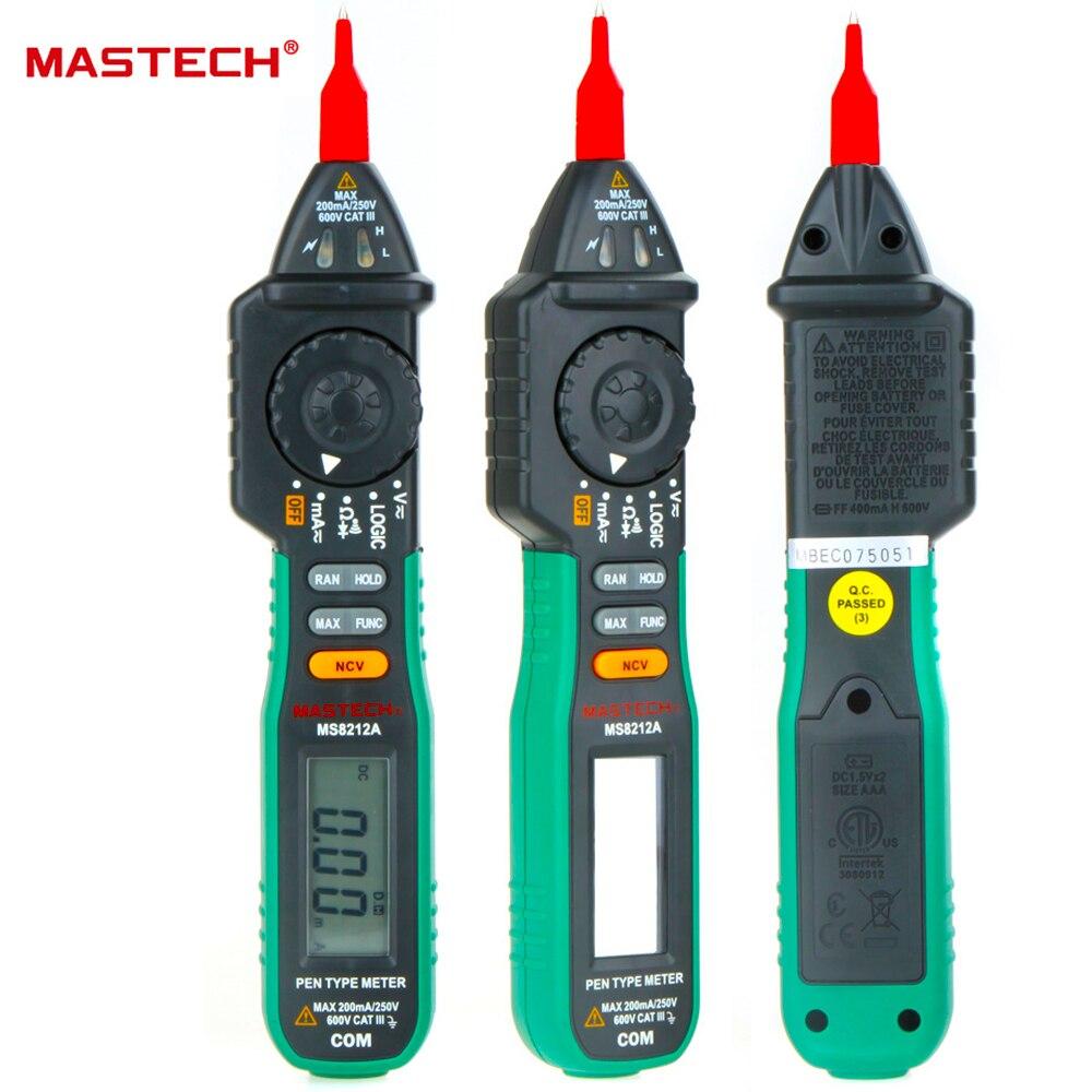 Mastech ms8212a caneta tipo multímetro digital multimetro dc ac tensão corrente tester diodo continuidade lógica não-contato tensão