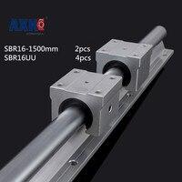 AXK 2 x Sbr16 L = 1500 мм линейный подшипник поддерживаемые рельсы 4 шт. Sbr16uu линейных направляющих подшипников блоки для ЧПУ