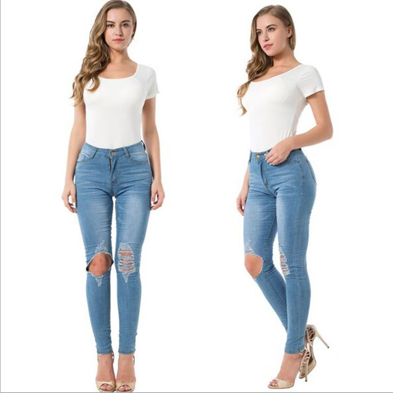 Women Light Blue Casual Skinny Stretch Bleached Knee Cut Full Length High Waist Pencil Pants Jeans Plus Size Sale цена и фото