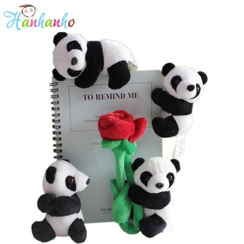 4db / tétel aranyos plüss panda klip kis töltött állat játék függöny klip könyvjelző megjegyzések szuvenír játékok gyerekeknek 10cm