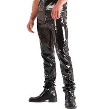 fdaffa7934 ZOGAA caliente nuevo Sexy hombres Skinny PU chaqueta de cuero de los  pantalones brillante pantalones club nocturno de la etapa d.