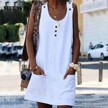 VIEUNSTA Women Casual O Neck Cotton and Linen Dress 2019 Summer Buttons Sleeveless Pockets Dress Ladies Plus Size Beach Dresses