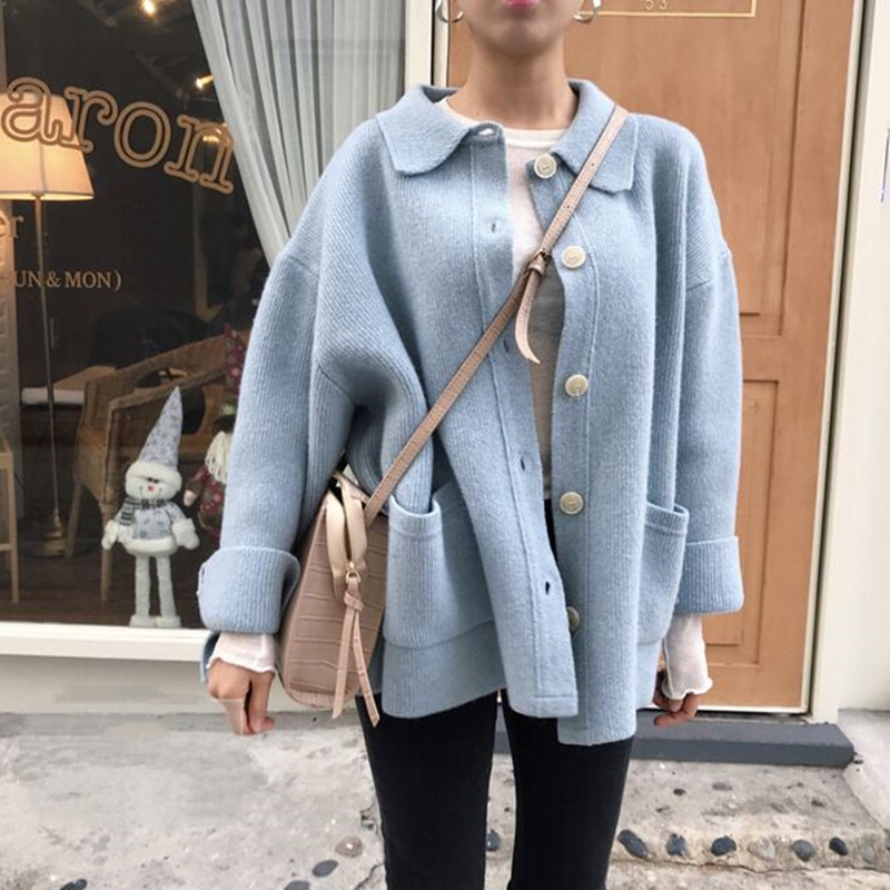 BURFLY Womens Knitted Long Sleeve Color Block Cardigans Sweaters Coats Front Buttons Casual Outerwear Overcoats Size 10-18 UK