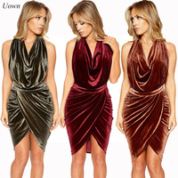2017 Women's Sexy Summer Backless Velvet Dress Irregular Hem Halter Pencil Dress Bodycon Bandage Party Midi Dress Back Zipper