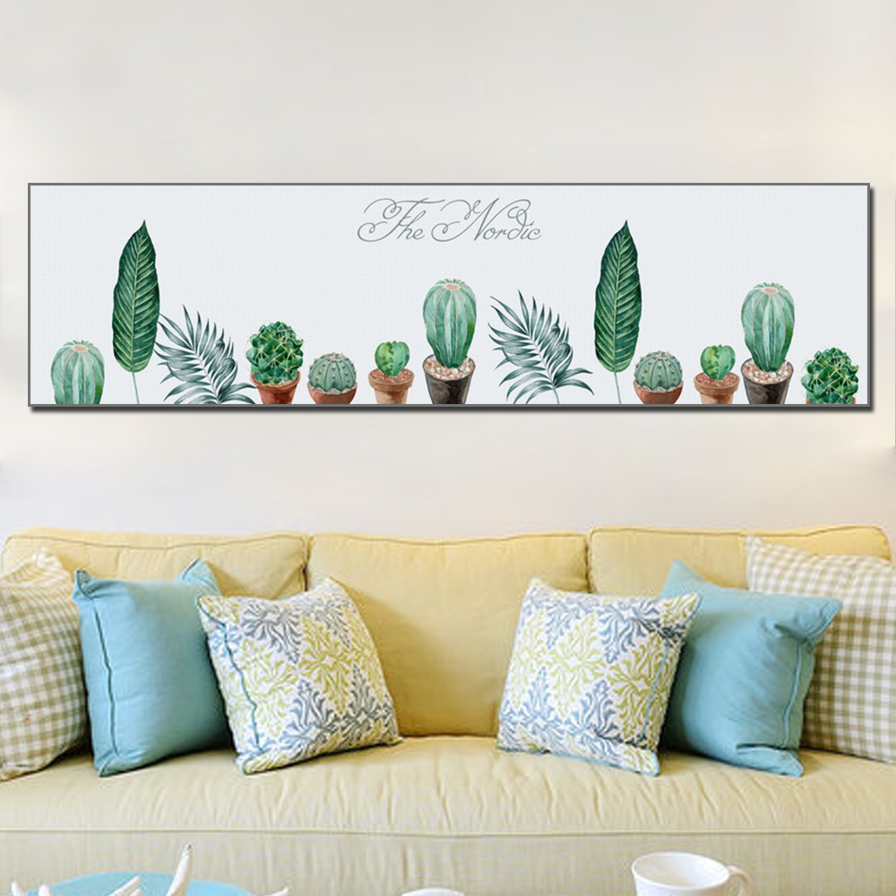 Unframed HD Poster Simple Art Painting Cactus And Plant Leaves Canvas Living Room Mural Cactus Decoration Unframed