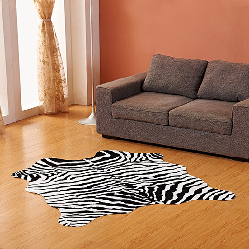 Imitation Animal Skin Carpet 140*160cm Non-slip Cow Zebra Striped Area Rugs And Carpets For Home Living Room Bedroom Floor Mat