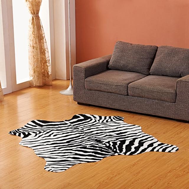 Imitation Animal Skin Carpet 140*160cm Non slip Cow Zebra Striped Area Rugs and Carpets For Home Living Room Bedroom Floor Mat