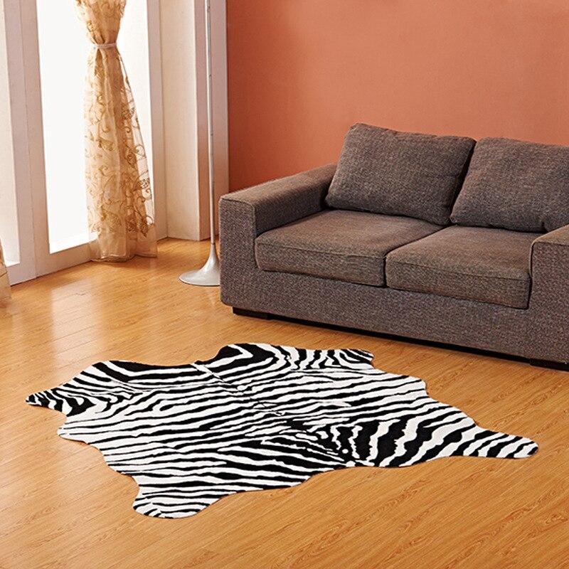 Imitation peau d'animal tapis 140*160 cm antidérapant vache zèbre rayé petits tapis et tapis pour la maison salon chambre tapis de sol