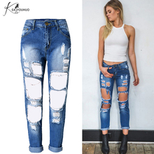 Купить с кэшбэком New 2017 Women's clothing Hole Loose Cowboy Straight Bleached Long Pants Ripped Jeans For Women Fashion Retro  Mid Waisted jeans