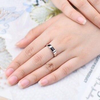 HUTANG Natural Gemstone Women's Men's Ring, 0.68ct Black Garnet 925 Silver Rings Emerald Cut Fine Jewelry for Best Gift 1