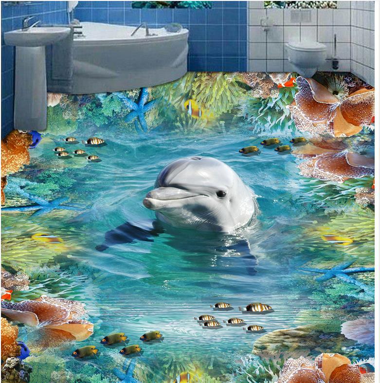 Dolphin 3D wallpaper 3d floor murals PVC Photo floor wallpaper 3d stereoscopic self-adhesive 3D floor
