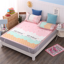 3 PCS Cooling Bed Sheet With Pillowcase Queen Size Mattress Bedspreads Covers Fitted Sets Gel For King