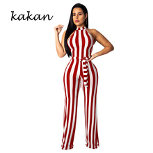 Kakan spring new womens tight jumpsuit sleeveless striped knit sexy wrapped chest