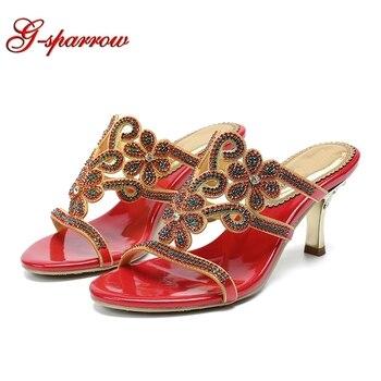 Rhinestone Slipper High Heels Red Gold Black Crystal Handmade Summer Dress Sandals 3 Inches Thin Heel Event Prom Shoes
