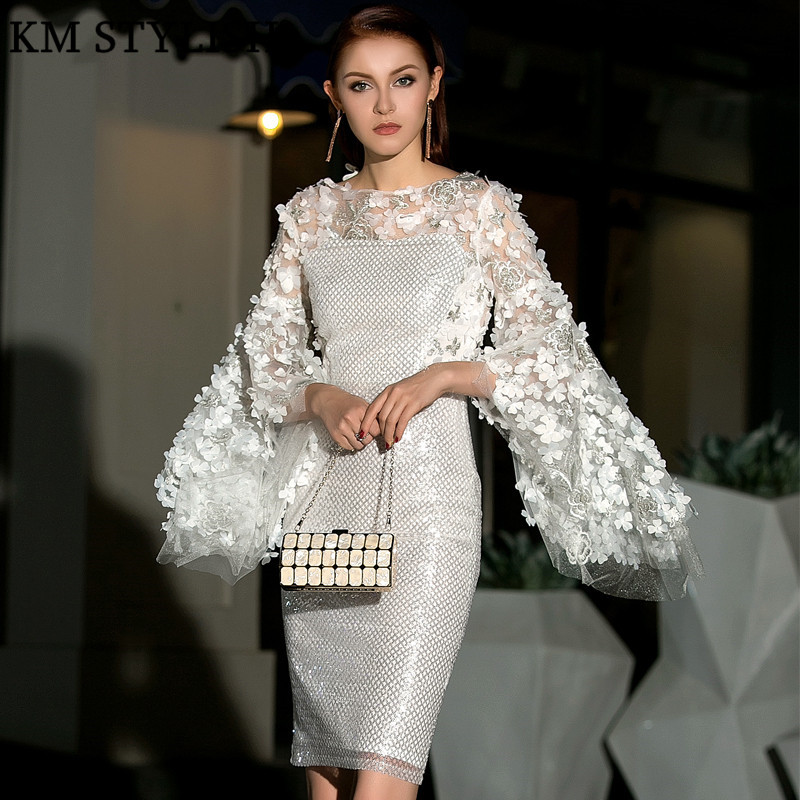 2019 Spring Runway New Banquet Sequins Party White Women Dress Flare Sleeve Embroidered Three-dimensional Appliques Flower Dress