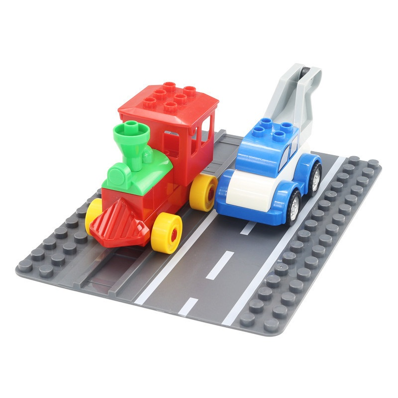 Classic Big Particles Building Blocks accessory highway track base plate path Bricks Toys child DIY Compatible with Duplo city free shipping plate 2x4 diy enlighten block bricks compatible with lego assembles particles