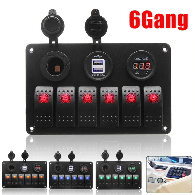 6 Gang 12V/24V Truck Switch Panel Durable Caravan Car Switch Universal Boat Toggle Switch Control|Car Switches & Relays| |  - title=