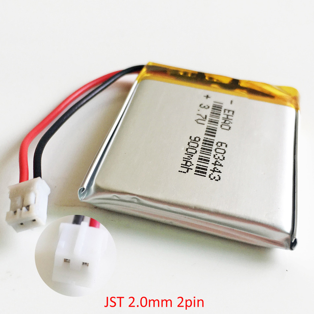 37V 900mAh Battery With JST 20mm 2pin Connector Lithium Polymer Li Po Rechargeable 603443 Cell For Mp3 GPS PSP Speaker