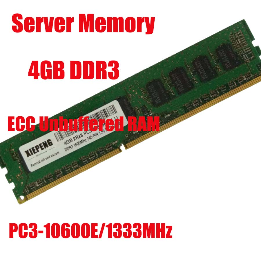 Server memory DDR3 4GB 1333MHz Pure ECC UDIMM Unbuffered RAM 4GB 2RX8 PC3 10600E 10600 for