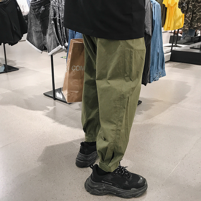 2018 Summer Korean Style Mens Fashion Trend Legs Cargo Casual Pants Loose Black/green Color Trousers Joggers Sweatpants S-XL