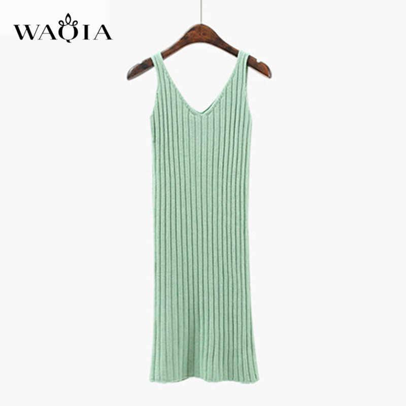Waqia 2018 Thu Womans Áo Len + Straped Đầm Bộ Rắn Nữ Casual Hai Miếng Phù Hợp Với Rời Áo Len Đan Mini đầm Mùa Đông
