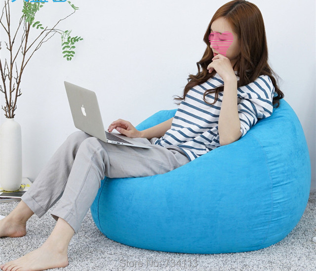 Filling Soft Stool Leisure Sofa Chair Flocking Bed Living Room Furniture Double Bean Bag