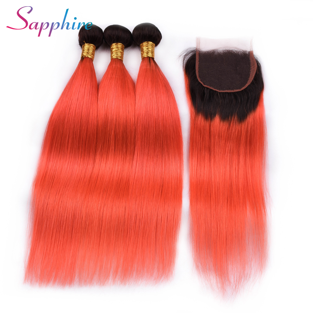 Sapphire Straight Hair Weaving 3 Bundles With Closure Ombre LightColor Free/Middle/Three Part Lace Closure 100% Human Remy Hair