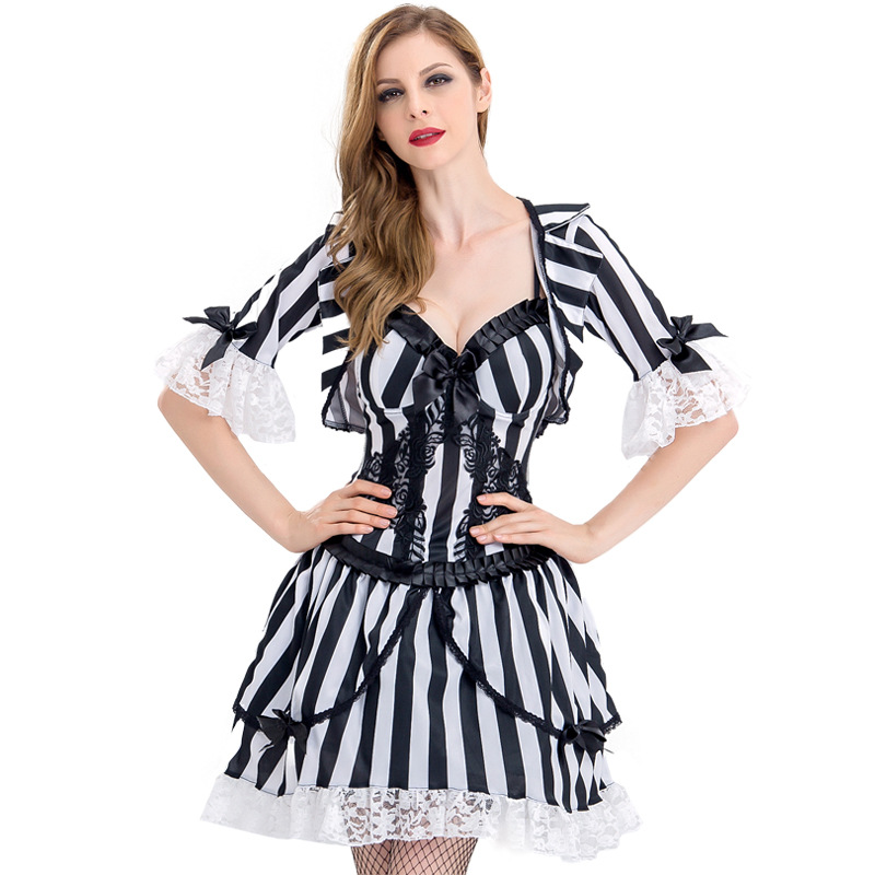 VASHEJIANG Stripe Gothic Vampire Outfit Spain soul of the dead Cosplay Women Vampire Costumes For  Halloween party fancy dress