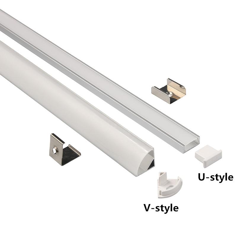 1Set 50cm LED Bar Lights  U/V Style Shaped Aluminum Channel Holder Milky Cover End Up For LED Strip Light Accessories