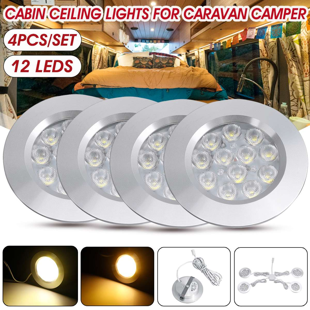 LED 12V 24V Spot Light White 75mm Ceiling Lamp Caravan Motorhome Boat Downlight