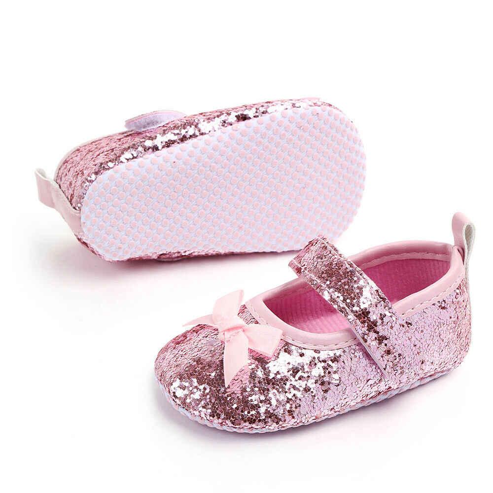 Princesa lantejoulas da criança infantil do bebê meninas sapatos bonito arco paillette anti-deslizamento sapatos de festa de casamento único prewalkers bebê crianças shose