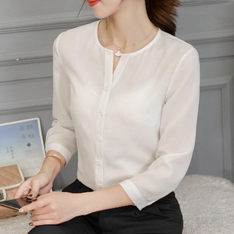 Spring Autumn 2019 Women White Shirt Buttons Shirts Korean Women Streetwear Slim Chiffon Blouse Elegant Ladies Tops Blusa Pink in Blouses amp Shirts from Women 39 s Clothing