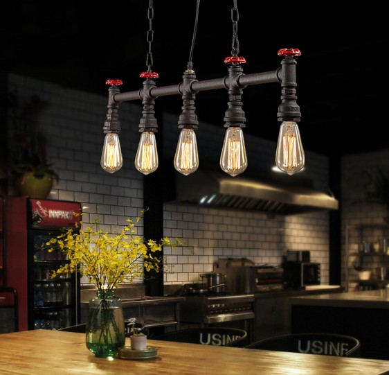 Retro Loft Style Water Pipe Lamp Edison Pendant Light Fixtures Vintage Industrial Lighting For Dining Room Hanging Lamparas edison retro vintage lamp loft industrial pendant light fxitures dinning room water pipe lighting lamparas 5 color lampshade