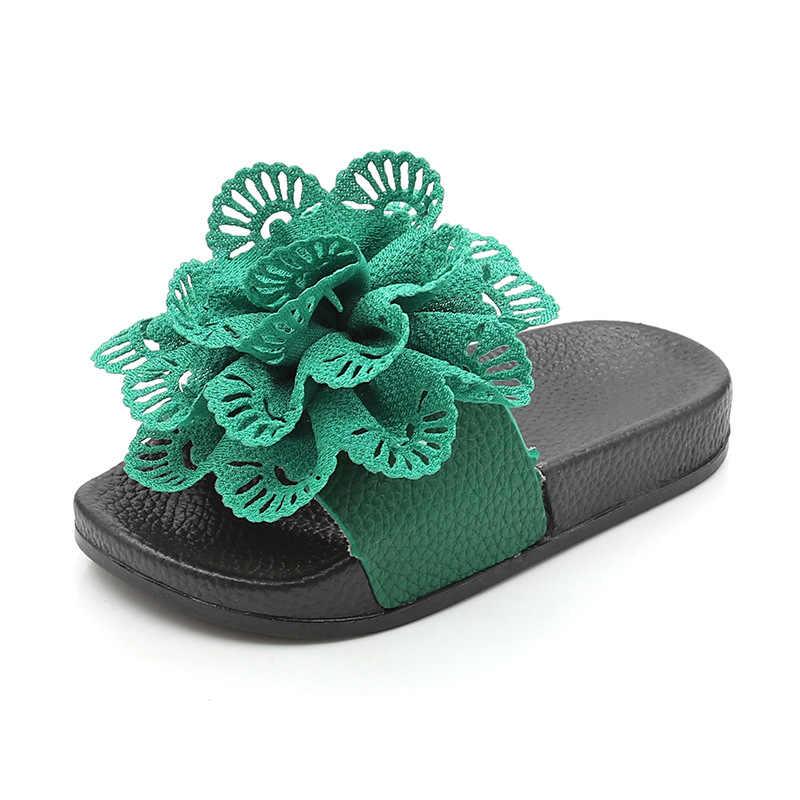 ฤดูร้อนใหม่ 2019 เด็กชายหาดเด็กหญิงดอกไม้รองเท้าเด็กวัยหัดเดินรองเท้าแตะลำลองเด็กอ่อนยี่ห้อสไลด์ PVC เจ้าหญิงรองเท้า