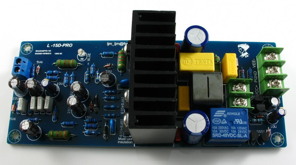 LJM- L15D-Pro Stero Power amplifier kit IRS2092 IRFB4019 with speaker protection irs2092 irfb4019 class d power amplifier board speaker relay protection 300w