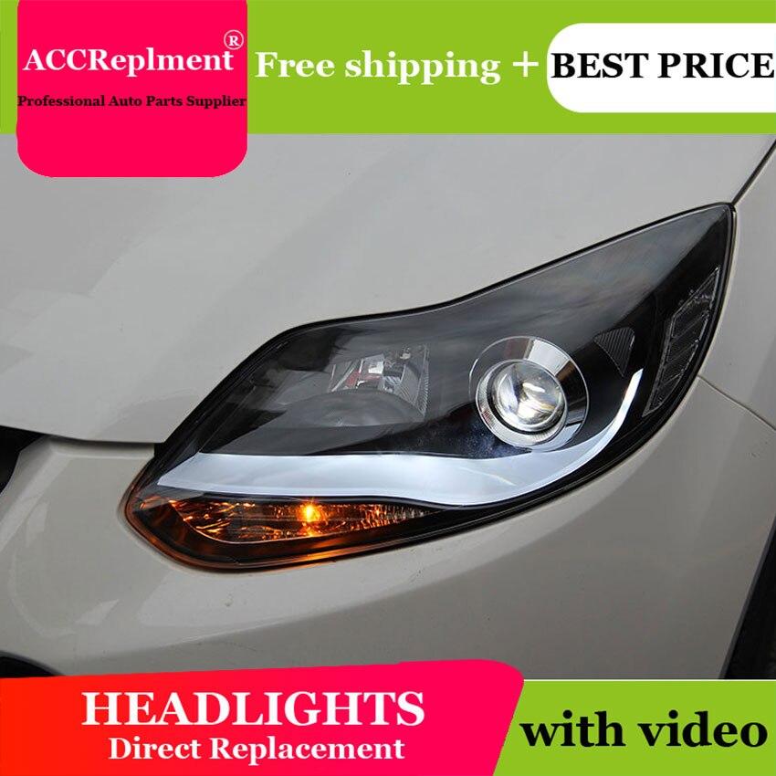 AUTO. PRO fari per Ford Focus 2012-2014 led fari allo xeno per la Messa A Fuoco car styling LED di guida DRL + H7 kit HID + Q5 bi xenon lente